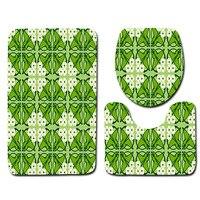 Modern Bathroom Mat Set 3pcs Geometric Pattern Anti Slip Bath Mat Soft Microfiber Bathroom Rug And
