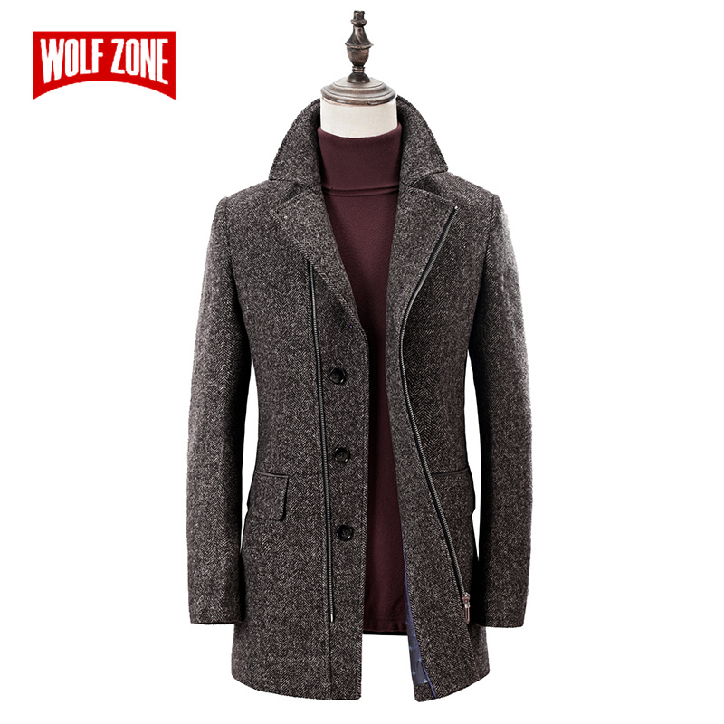 WOLF ZONE hiver laine coupe vent manteau hommes décontracté Long hommes pardessus homme marque Slim Fit Trench manteau veste vêtements-in Laine et mélanges from Vêtements homme    1