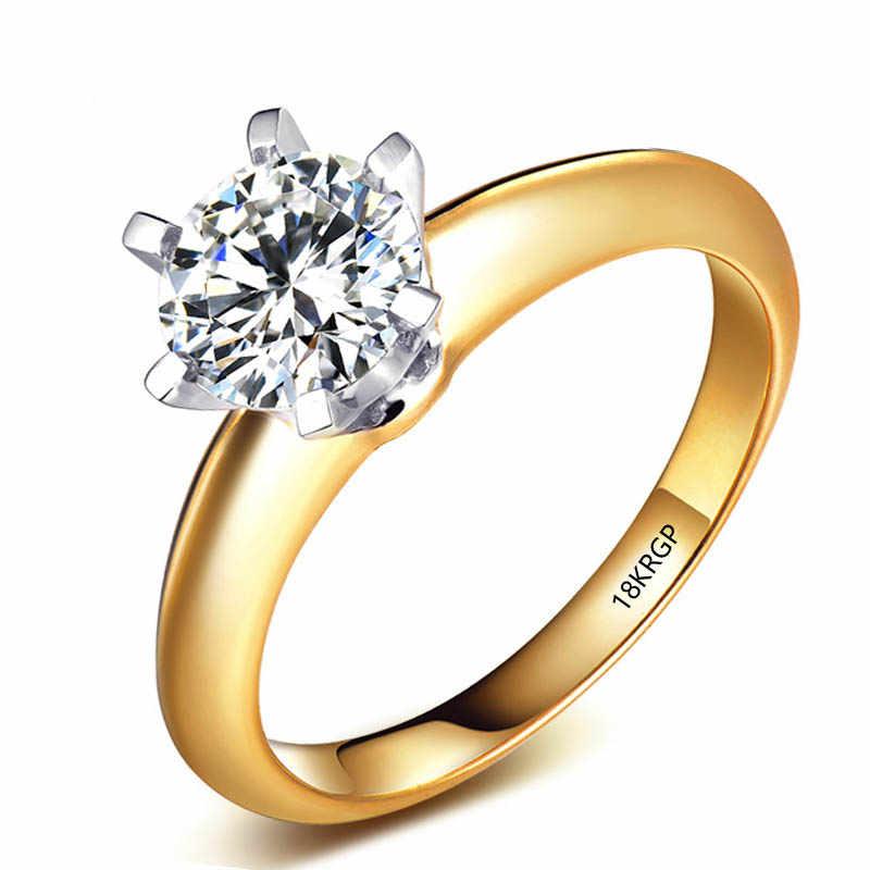 YHAMNI Geschnitzt 18 KRGP Stempel Gold Ringe 2ct CZ Diamant Verlobungsring Weiß/Gelb Gold Farbe Hochzeit Ringe Für frauen Geschenk L1699