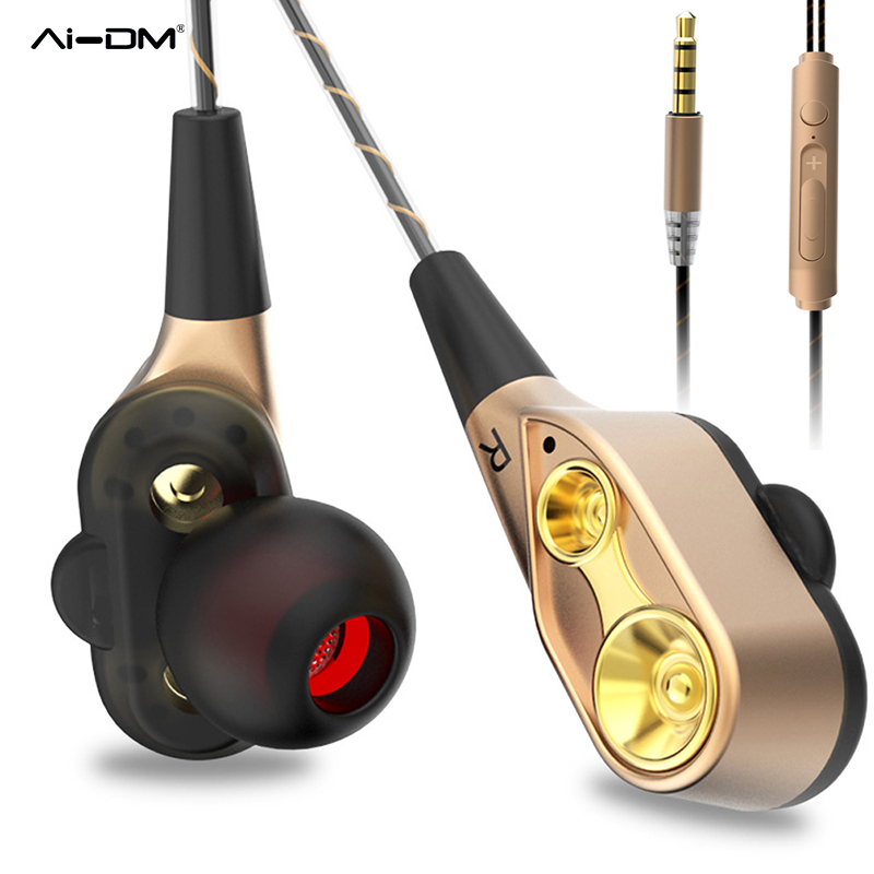 AIDM Dual Dynamic Drivers Headphone Sport Earbuds Noise Isolating HiFi DJ Music Fone De Ouvido In-ear Earphones Headset Ecouteur brand new original superlux hd330 headphone professional monitoring semi open dynamic noise isolating over ear dj hifi headset
