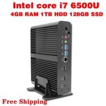 Mini pc core i7 6500u макс 3.1 ГГц 4 ГБ ram 128 ГБ ssd 1 ТБ hdd micro pc htpc intel hd graphics 520 tv box usb 3.0