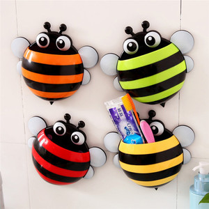 Image 1 - Storage Boxes Cute Bee Wall Mounted Toothbrush Holder Wall Children Sucker Toothpaste Bathroom Cases Accessories