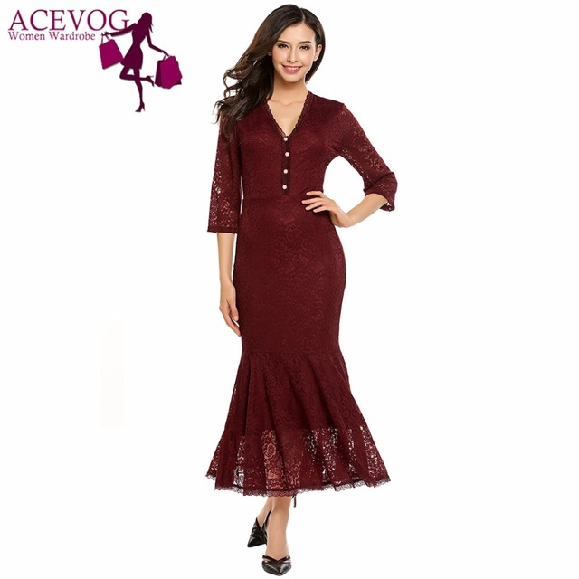 f5271e53bf0f ACEVOG Women Mermaid tail Dress Formal Vintage 1950s 60s Autumn Lace Party  Bodycon Maxi Long Dresses