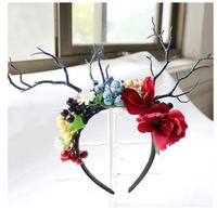 Halloween pink headdress bride hair accessories catwalk stage personality creative Christmas antlers branch crown headwear