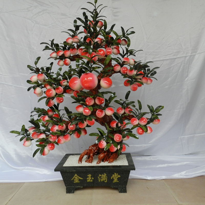 Jade handicrafts Peach-Shaped Mantou Lucky Tree 68 peach tree living room Home Furnishing creative decorations business gifts lucky peach all about eggs