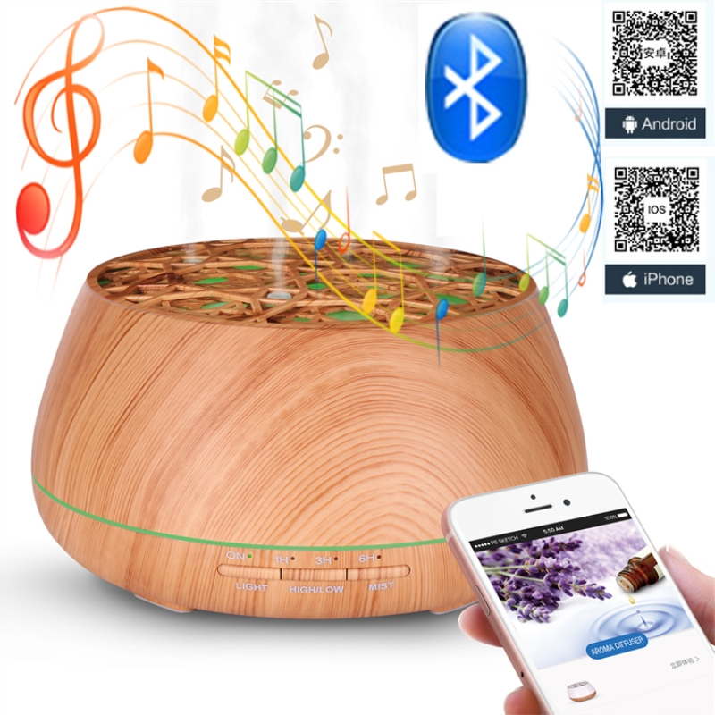 Bluetooth Music Aromatherapy Diffuser APP Control Essential Oil Ultrasonic Humidifier 400ml Capacity 7 Color Light Wood Grain