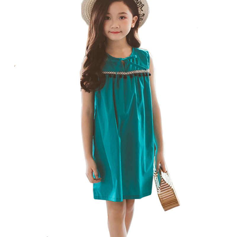 133dd2c80c448 big girls summer dress teenager sleeveless cotton party frocks 2018 ...
