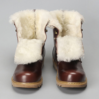 Natural Wool Men Snow Boots Size 38 48 Warmest Cow Split Leather Europe Style Men Winter