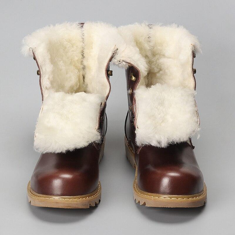 Натуральная шерсть Мужские зимние сапоги Размер 38-48 теплые из коровьей кожи в европейском стиле Мужские зимние сапоги # YM008