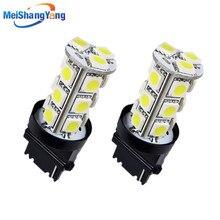 2pcs T25 3156 3056 White 18 SMD 5050 LED Bulb Lamp p27w led car bulbs Turn Signal External Lights Car Light Source parking 12V