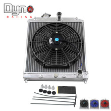 dyno 2 Row Aluminum Car Auto Racing Radiator With 12inch Plastic Radiator Cooler Fan For 92