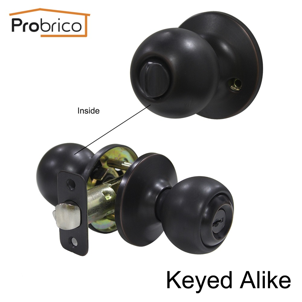 Probrico 10 PCS Keyed Alike Entrance Door Lock Stainless Steel Safe Locker Oil Rubbed Bronze Door Handle DL5763ORBET-Combo master lock m5xd magnum keyed padlock