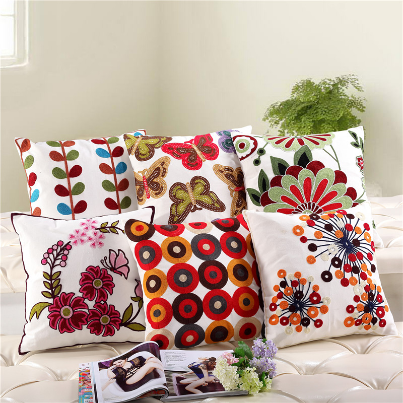 Embroidery Decorative Cotton Circle Geometry Vintage Floral Leaf Elephant Sofa Car Embroidered Cushion Cover Pillow Case