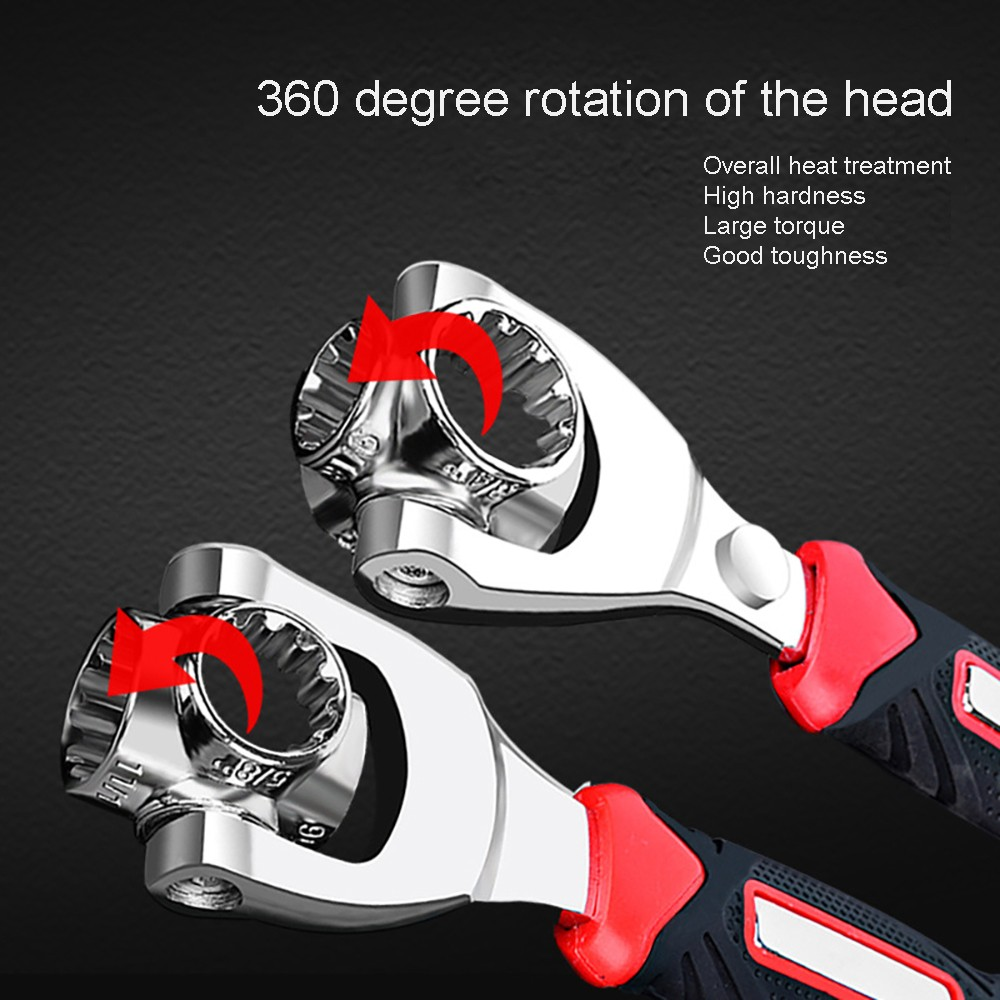 8 In 1 Sleeve Multifunction Wrench  Universal Rotation Wrench 360 Degree 6-Point Universial Furniture Car Repair - Random Color