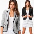 Nova Blazer Mulheres Moda feminina Primavera Design Slim Curto Turn-down Collar Blazer Cinza Jaqueta Curta Casaco para mulheres WL2024