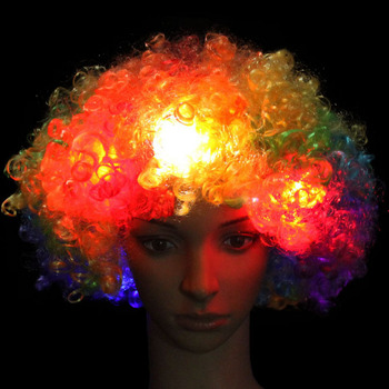 1PCS Amazing Explosion of Head LED Light Blinking Curly Hair Wig Fans Party Hat Birthday Glow Party Carnival Wig for Kids Adult 1