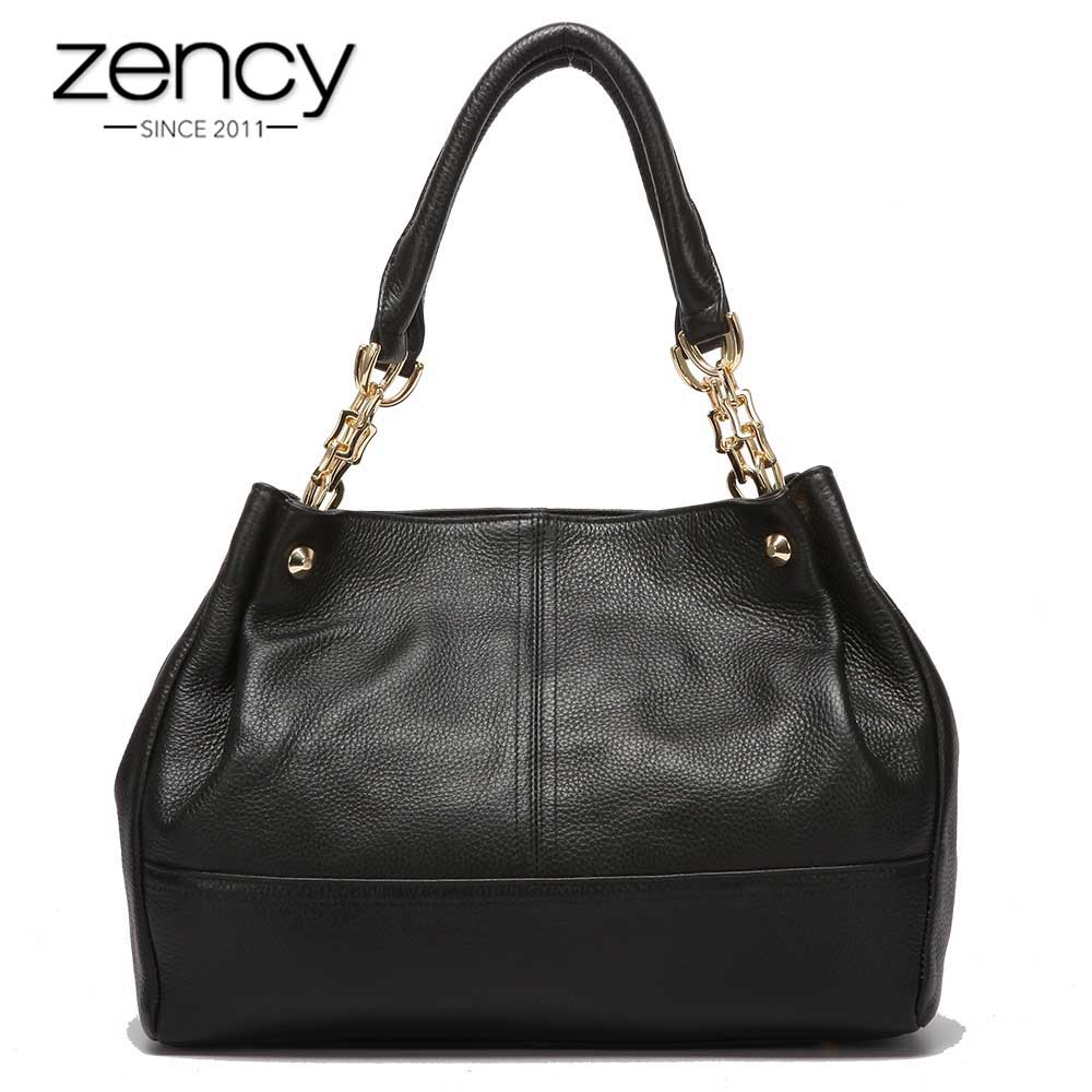 18a74917f Zency 100% Genuine Leather Fashion Women Shoulder Bag Black Handbag Elegant  Lady Messenger Crossbody Purse Casual Tote Bags-in Shoulder Bags from  Luggage & ...