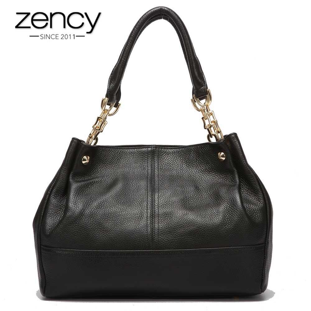 Zency 100% ของแท้หนังแฟชั่นผู้หญิงกระเป๋าสะพายสีดำกระเป๋าถือ Elegant Lady Messenger Crossbody กระเป๋า Casual Tote กระเป๋า-ใน กระเป๋าสะพายไหล่ จาก สัมภาระและกระเป๋า บน   1