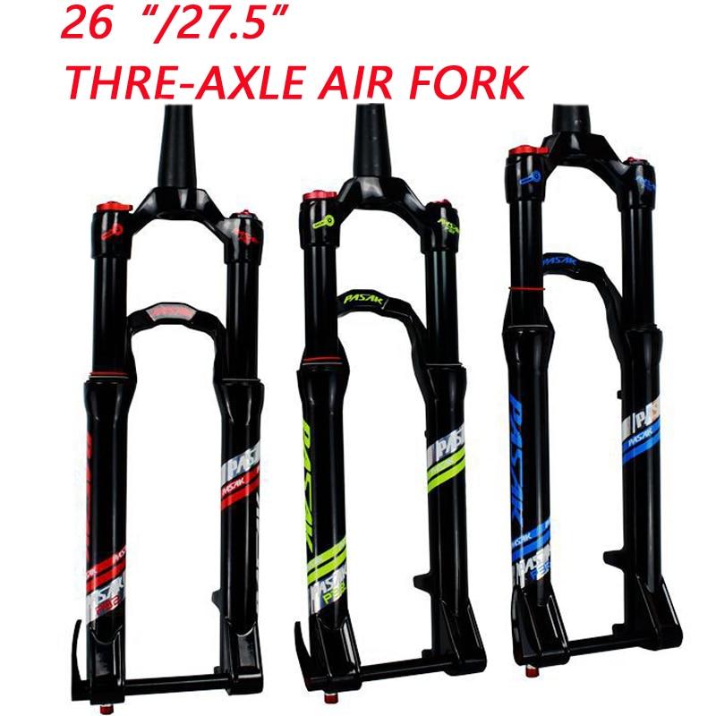 "pasak 27.5"" 26"" 27.5er 15QR QR15*100mm thru-axle Suspension Bike fork Bicycle MTB air damping Fork Alloy Disc Brake Fork"