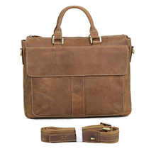 Crazy Horse Leather Briefcases Laptop Bag High Quality Full Grain Leather Handbag For Business Men 7113B-2