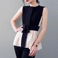 Queenus Women Blouse Black Sleeveless Round Neck Patchwork Suspenders Color Block Cool Summer Fashion Girls Tops