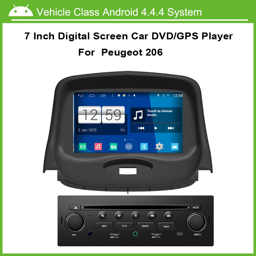 android 4 4 4 car dvd video player for peugeot 206 car gps multi touch capacitive screen 1024. Black Bedroom Furniture Sets. Home Design Ideas