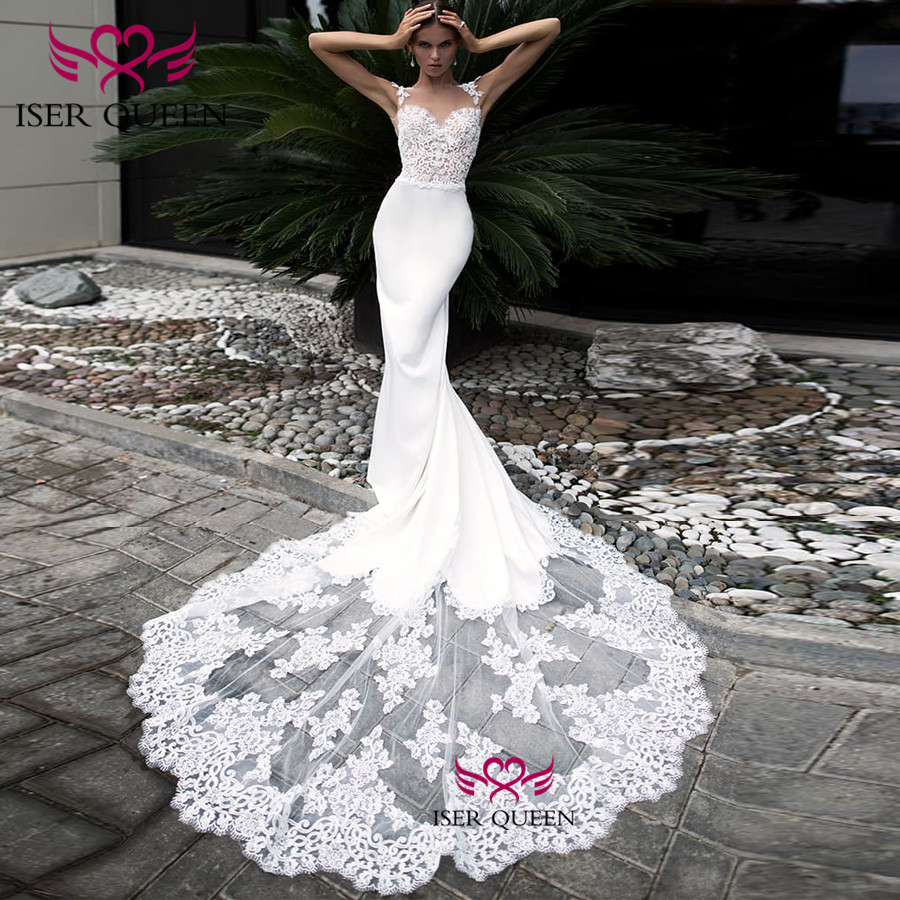Sexy Mermaid Embroidery Wedding Dresses Pure White Sleeveless Big Train Bride Gown Backless Design Lustrous Satin w0525