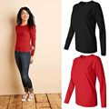 Fashion Spring & Autumn Solid Cotton Slim Pure Cotton T shirt Women Long Sleeve Casual Tshirt Relax Style