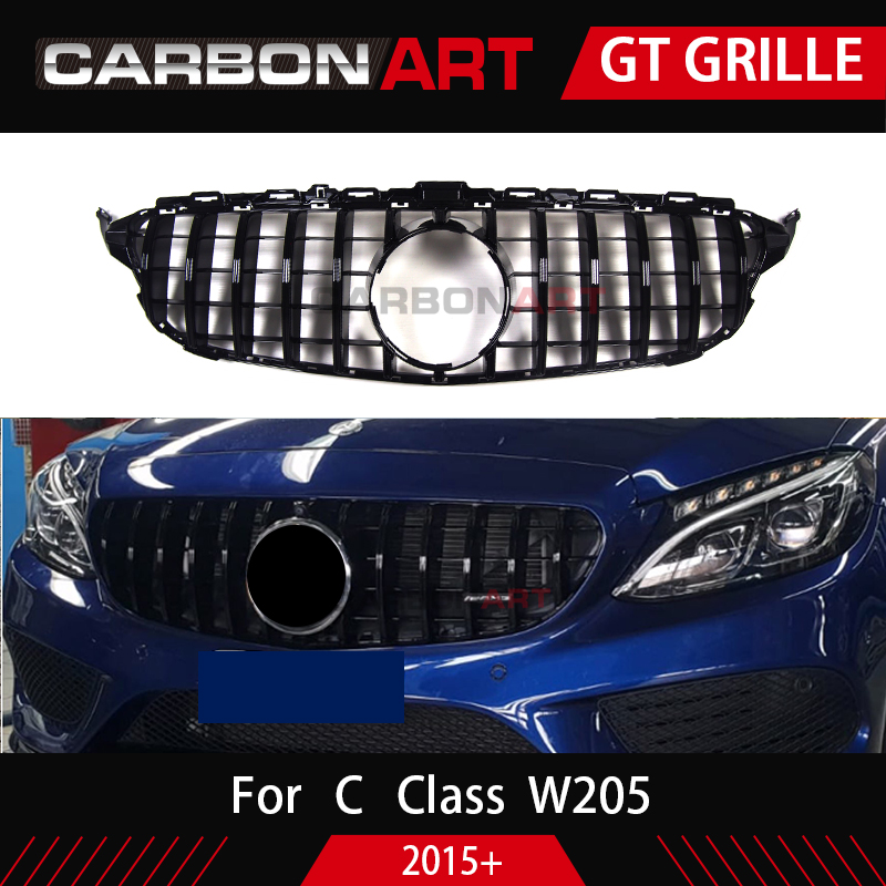 Image 2 - Carbonart C Class W205 GT Front Bumper Mesh Grill Grille Fit for mercedes W205 C200 C300 Sports No/with Camera hole-in Racing Grills from Automobiles & Motorcycles