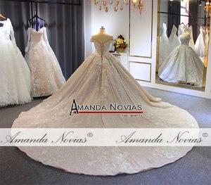 Image 5 - 럭셔리 구슬 웨딩 드레스 어깨 긴 기차 2020 새로운 신부 드레스 novias