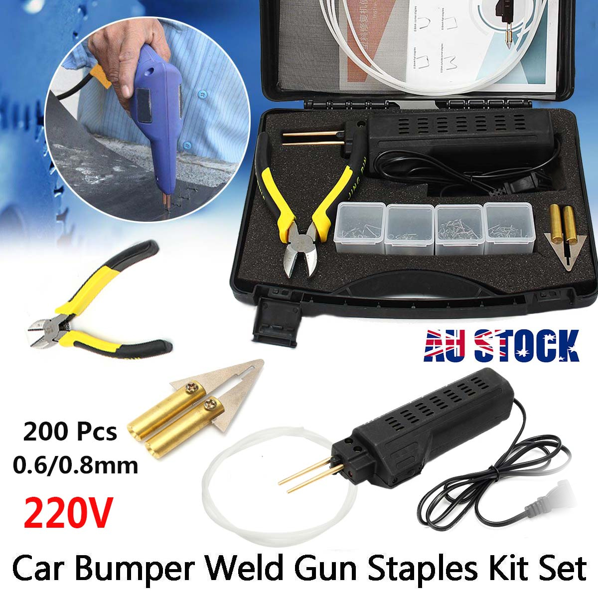 Hot Stapler Car Bumper for Fender Fairing for Welder for Gun Plastic Repair Kit 200 Staples Auto Body Soldering Iron welding torch repair kit 220v 50w stapler for bumper plastic w 500x staples for auto and car