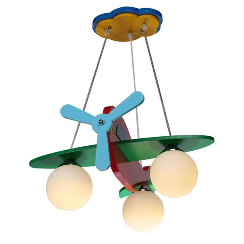 Современный красочный деревянный детский подвесной светильник с рисунком из мультфильма, лампа для спальни, игрушечный самолет, рождестве