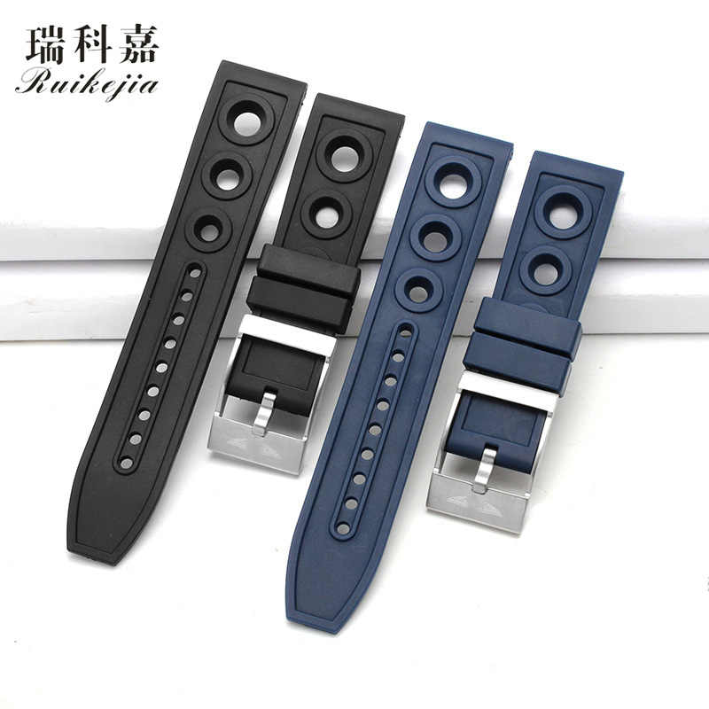 New products for B-reitling watch strap silicone rubber bracelet male Avengers series super marine culture black bird 22mm 24mm