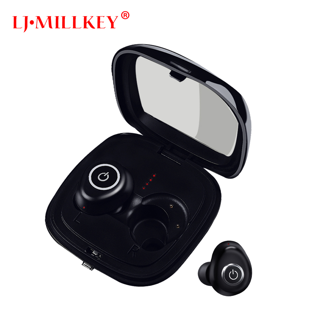 TWS business Bluetooth earphones wireless 3D stereo headset and power bank with microphone handsfree calls LJ-MILLKEY YZ163