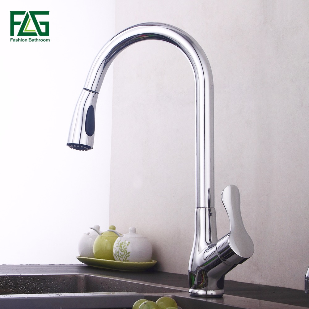 FLG Pull Out Kitchen Faucet, Chrome Finished Sink Mixer Tap, Copper Single Handle Vessel Sink Kitchen Faucets good quality chrome finished pull out