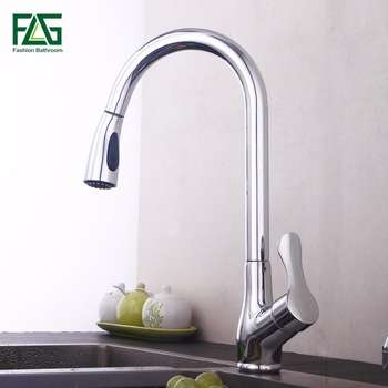 цена на FLG Pull Out Kitchen Faucet, Chrome Finished Sink Mixer Tap, Copper Single Handle Vessel Sink Kitchen Faucets