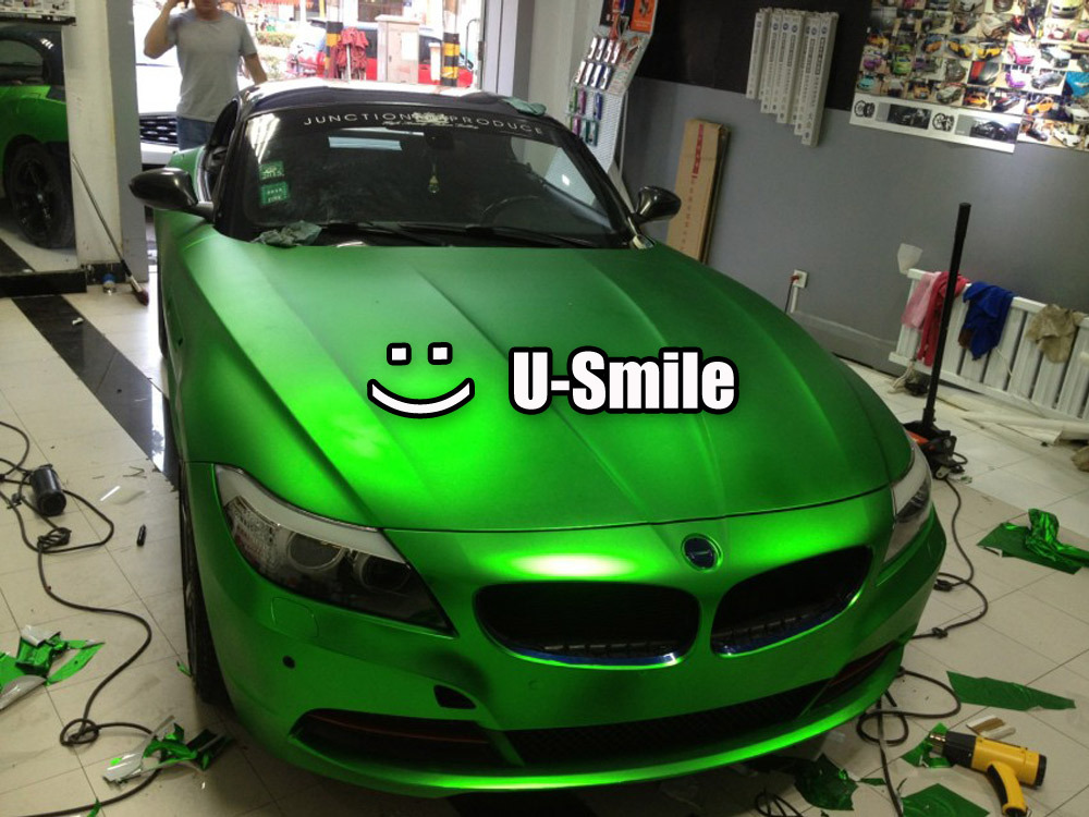 Apple Green Matte Chrome Car Film Matt Chrome Green Car Wrap Matt