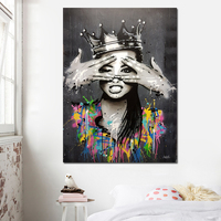 1 Piece Graffiti Girl Canvas Painting Decorative Pictures Wall Art Print Sexy Girl Painting For Girls Living Room No Frame