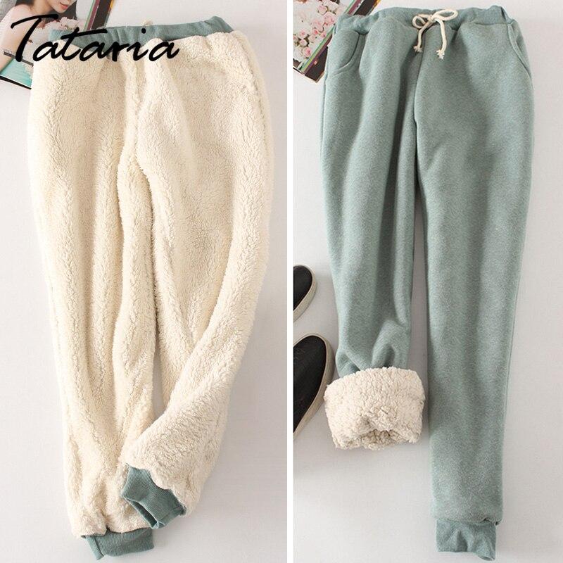 aaed0baa0f1a98a Купить Зимние кашемировые теплые брюки для женщин повседневные Бархатные  Теплые брюки женские с высокой талией Зимние яркие цвета толстые брюки т...  Цена ...