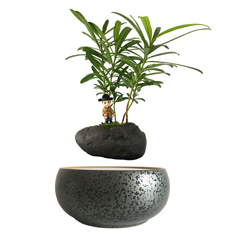 2018 Japan Magnetic Levitation Floating Plants Small Ceramic Pot Bonsai Birthday Gifts For Men Free Shipping No Plant