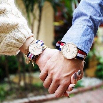 LOREO Simple coreano Delgado estudiante amantes reloj moda Nylon Correa amantes reloj hombres mujeres cuarzo reloj señoras reloj femenino