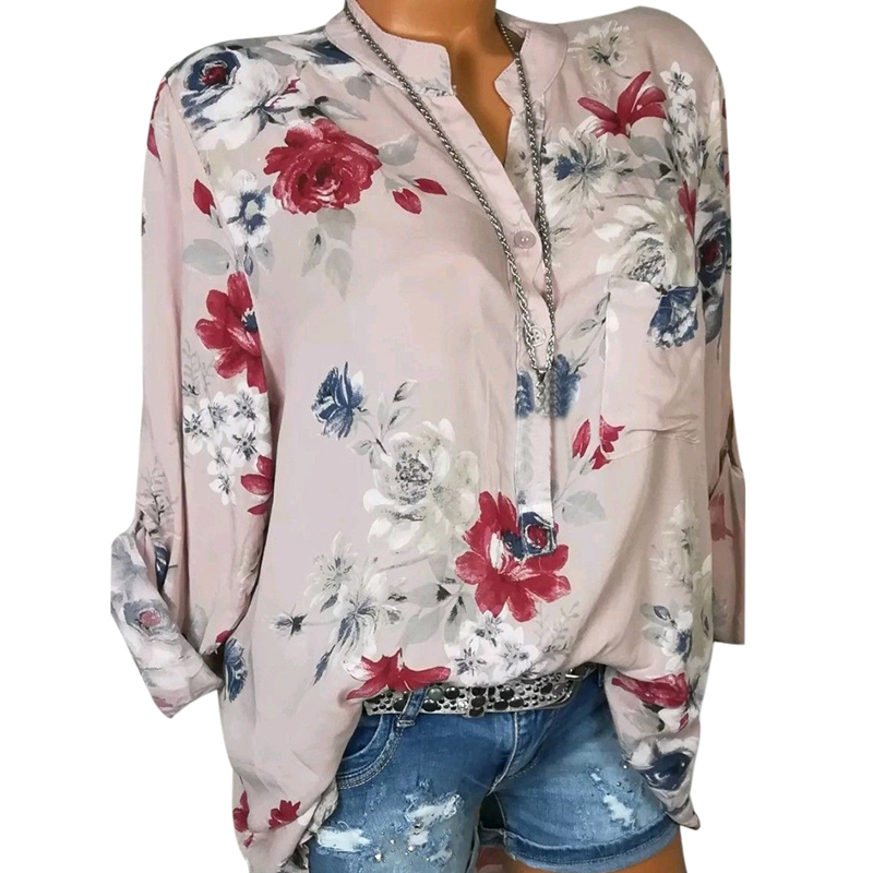 LASPERAL 2018 Women Summer Autumn Long Sleeve V Neck Women Blouse Floral Print Irregular Shirts 5XL Plus Size Women Tops Blouse 3