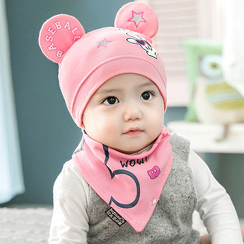 new 6-24 months newborn baby hats 2 pcs /set New Baby Hat Bib scarf Set Cartoon Cotton Beanie Baby Boy Girls Hats Kids Hat caps ...