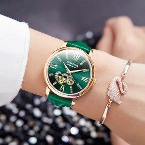 Image 3 - Reef Montre en cuir pour femmes, nouveau Design, cadran mécanique or Rose, vert, bracelet RGA1580, 2020