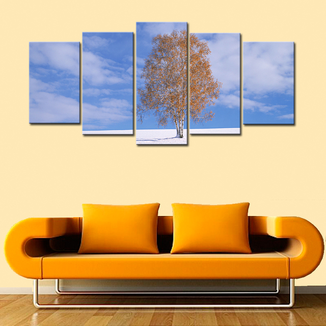 Home Decor Large Wall Art Lonely Tree In Vast Plain Tree Painting ...