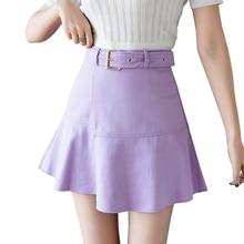 8a76baf9b 2019 Spring A-Line Ruffles Skirt Solid Color Irregular Hem High Waist Mini  Skirts Womens