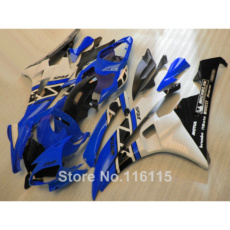 Lowest price fairing kit for yamaha yzf r6 2006 2007 white black blue bodywork fairings yzf-r6 06 07