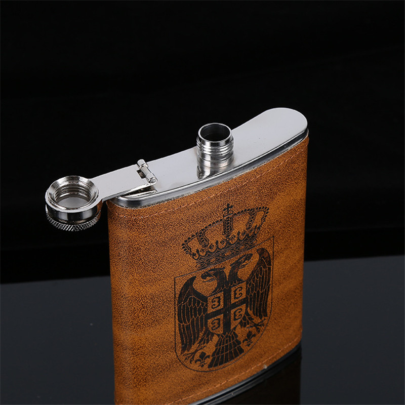 Gadgets For Men 8 OZ Hip Flask Stainless Steel Double Headed Eagle Mini Flasks Outdoor Portable Hip Flask With One Funnel in Hip Flasks from Home Garden
