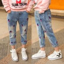 Детские джинсы на весну и осень, детская одежда новые осенние От 5 до 12 лет джинсы для девочек повседневные штаны джинсы для девочек возрастом 12 лет