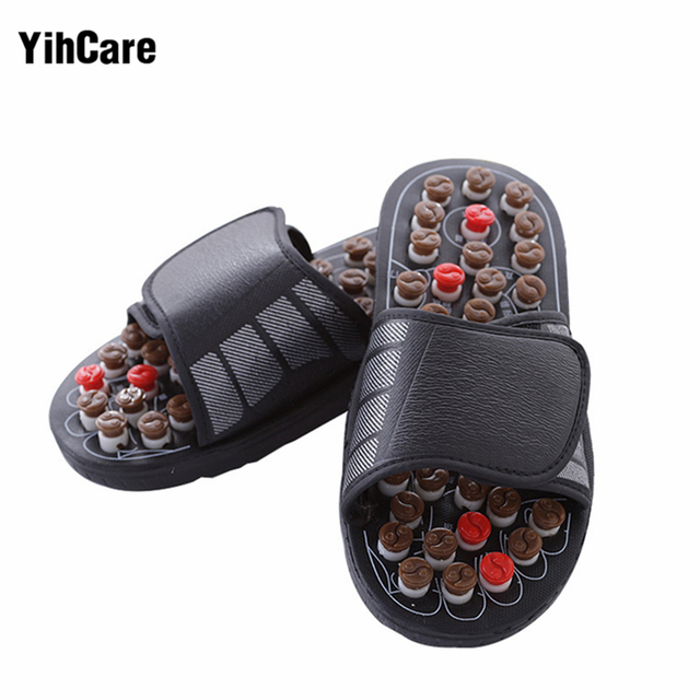 4470fbb3feb YihCare Reflexology Acupressure Wooden Massage Sandals Shoes Health  Acupunture Rotary Acupoint Foot Massage Slippers Feet Care